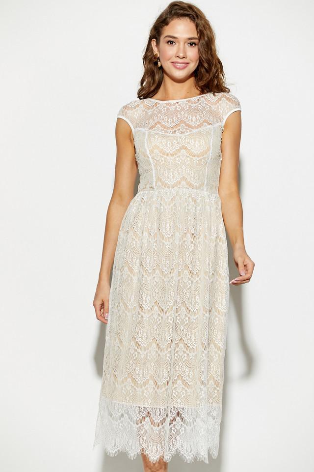 Женское нарядное летнее платье гипюровое, белое, молодёжное, миди, праздничное, элегантное