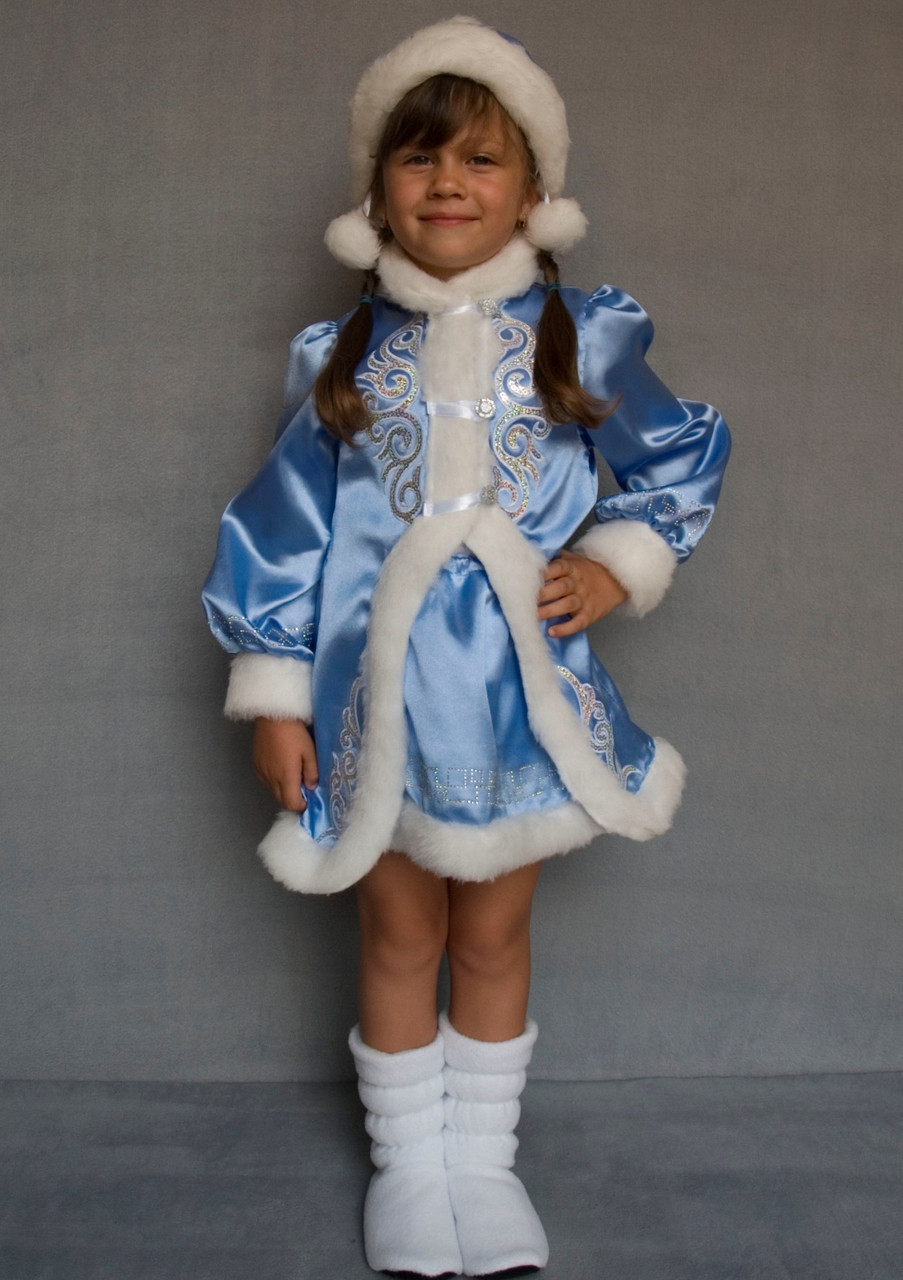 Карнавальный костюм Снегурочка №3 (голубой)
