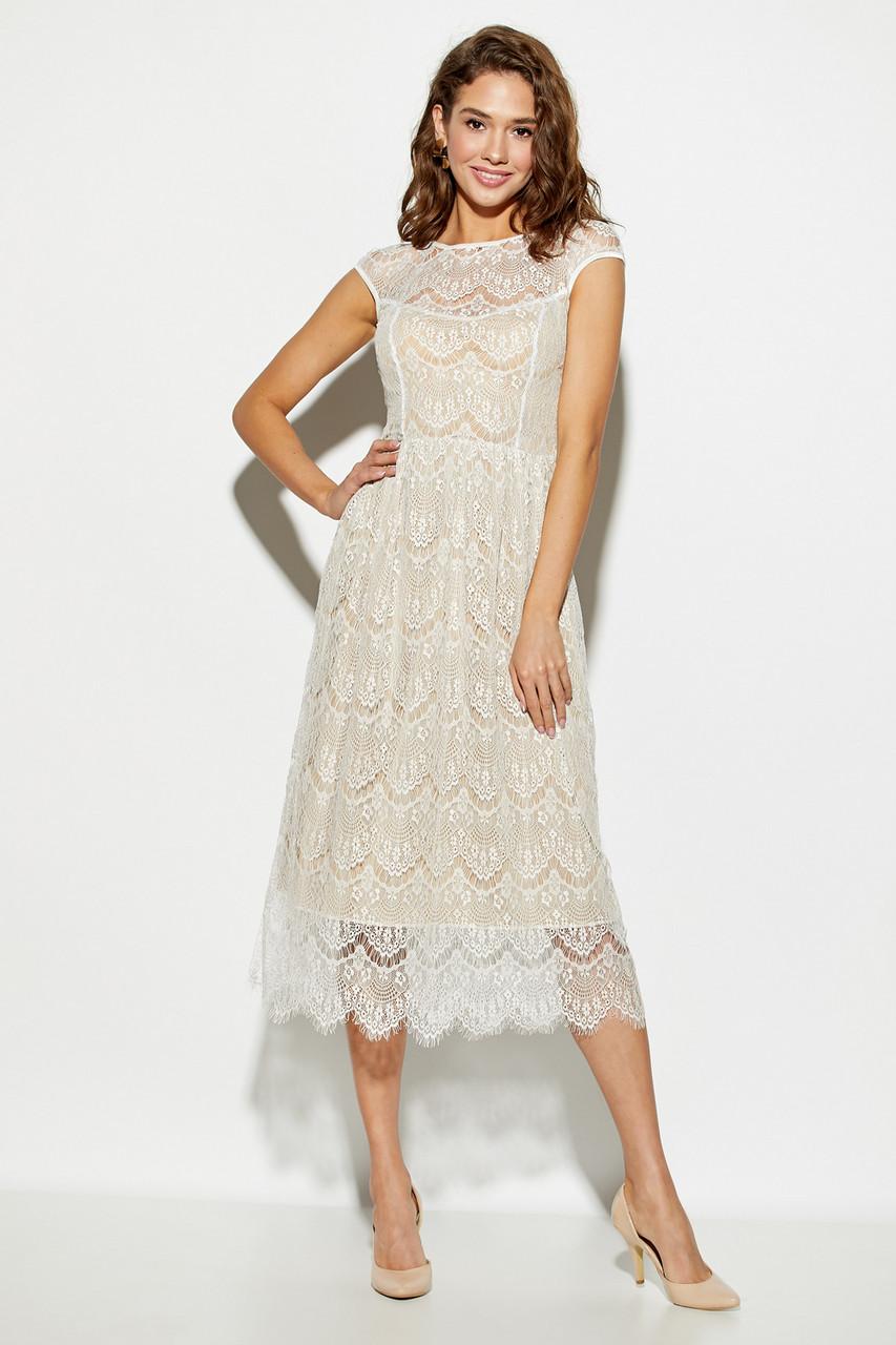 Женское нарядное платье гипюровое, белое, молодёжное, миди, праздничное, элегантное