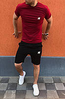 Мужской комплект шорты и футболка New Balance черно-бордовый