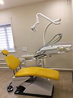 Желтое стоматологическое кресло, перетяжка