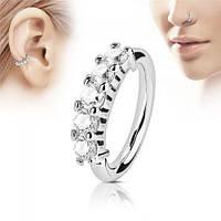 Пирсинг кольцо разгибающееся с цирконами 6-8 мм 144489