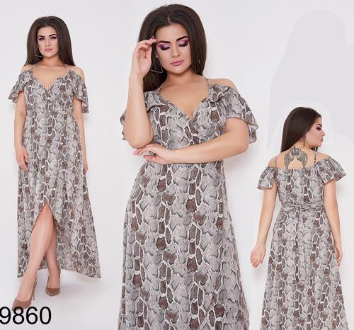 Модное женское летнее платье с принтом питона (коричневый) 829860
