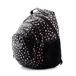 Шкільний чорний рюкзак в горох (ортопедичний) / Школьный черный портфель в горох (ортопедический)