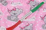 "Ткань муслин ""Мишки Girl с малиновым бантиком"" на розовом фоне, ширина 80 см, фото 4"