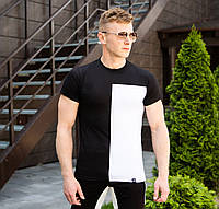 Футболка мужская Pobedov  модная с короткими рукавами трикотаж (черно-белая)