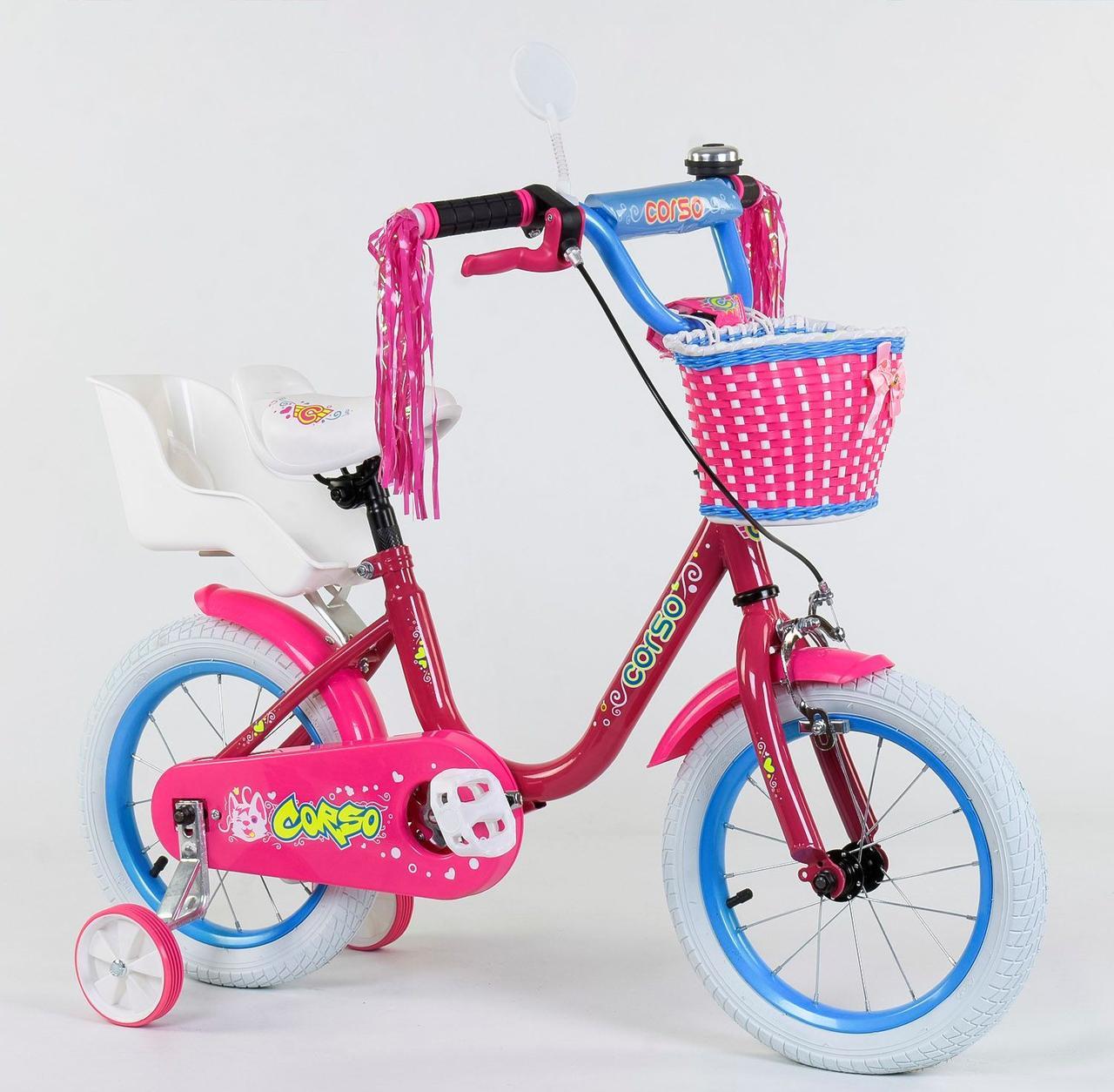 """Велосипед 14"""" дюймів 2-х колісний 1410 """"CORSO"""" Рожевий 78180"""