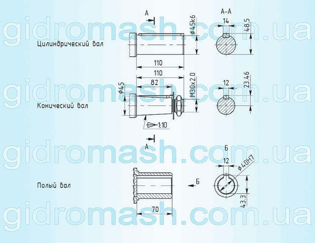 Размеры валов мотор-редуктора 3МП-50