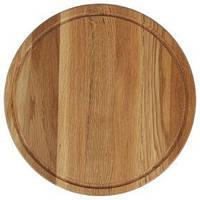 Деревянная подставка для пиццы с желобом Ø50 см, дуб обработки высшего качества, фото 1