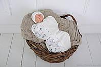 """Пеленка кокон для сна для новорожденных на молнии с шапочкой, """"Зебра"""", для деток 3-6 мес., фото 1"""