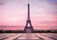 Фотообои флизелиновые 3D город 368х254 см Париж Эйфелева башня на закате (5028WG)