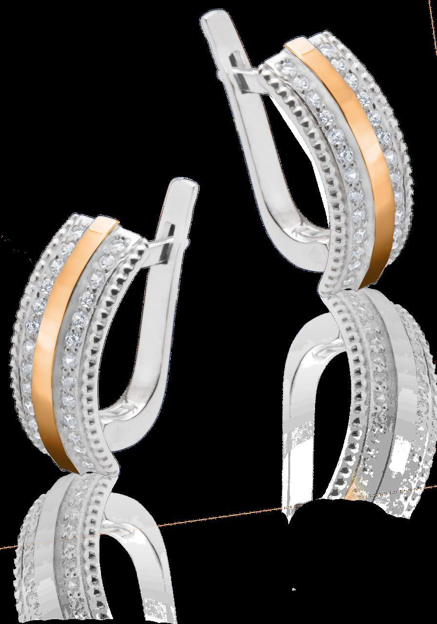 Серебряные серьги Юрьев с золотом и камнями  49 с