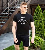 """Черная мужская футболка Pobedov из трикотажа с надписью """"Ради тебя"""" черная, ОРИГИНАЛ, фото 1"""