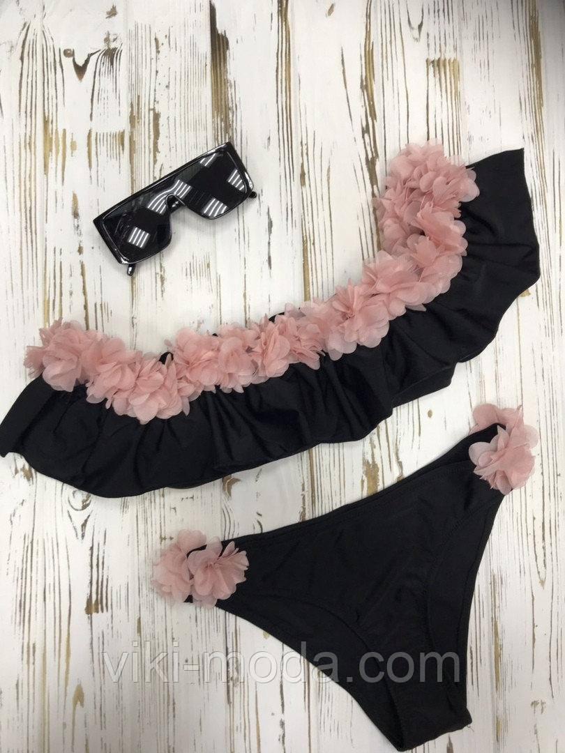 Раздельный женский купальник с оборкой  на лифе и на плавках, цвет черный+пудра