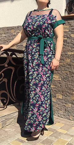 """Женское батальное платье в пол """"Ирма"""" размеры 50,52,54,56 мелкие цветы с зеленым, фото 2"""