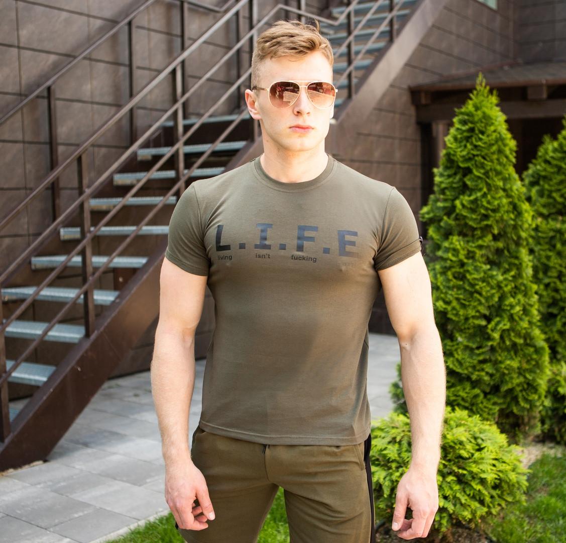 Оригинальная футболка мужская Pobedov качественная с  надписью LIFE (зеленая)