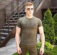 Оригинальная футболка мужская Pobedov качественная с  надписью LIFE (зеленая), фото 1