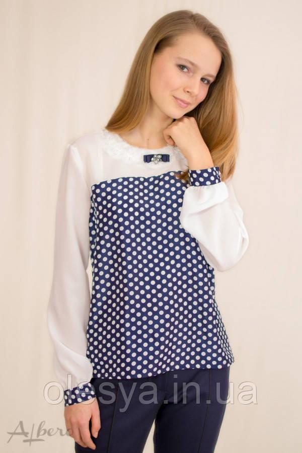 Блуза контрастная с кокеткой и брошью ТМ Альберо 5024-B  Размеры 128 -158