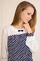 Блуза контрастная с кокеткой и брошью ТМ Альберо 5024-B  Размеры 128 -158, фото 4