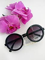 Солнцезащитные очки тишейды, черного цвета, ободковые, круглые (055)