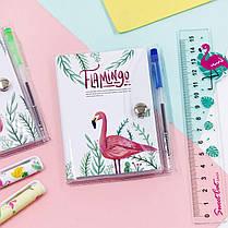 Блокнот на кнопке детский Фламинго + ручка шариковая 1003654B-1305, фото 2