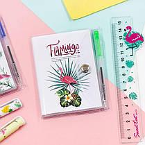 Блокнот на кнопке детский Фламинго + ручка шариковая 1003654B-1305, фото 3