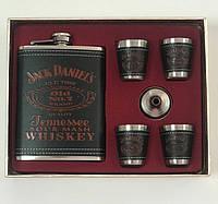Подарочный набор фляга со стопками Jack Daniels black-red, Подарунковий набір фляга зі стопками Jack Daniels black-red, Фляги