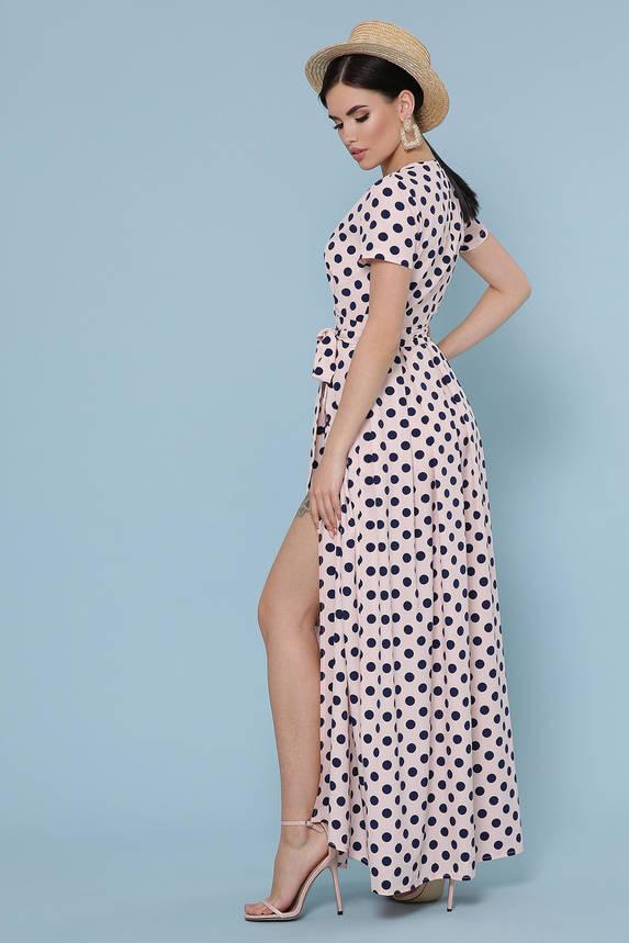 Летнее платье с запахом в пол персиковое, фото 2