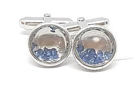 Серебряные запонки с фианитами. Артикул IZ1205