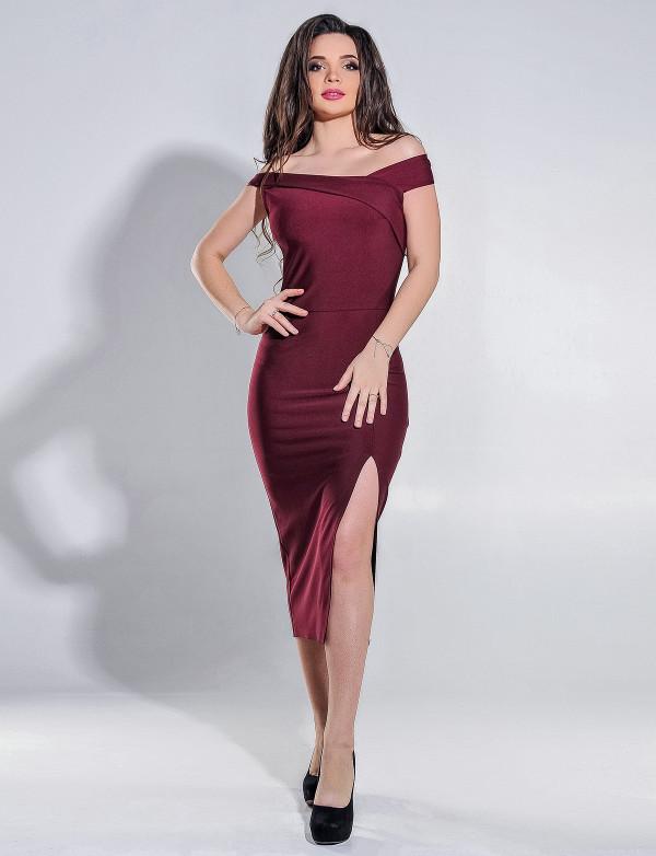 Платье женское вечернее бордовое  ENIGMA MKENG 3036