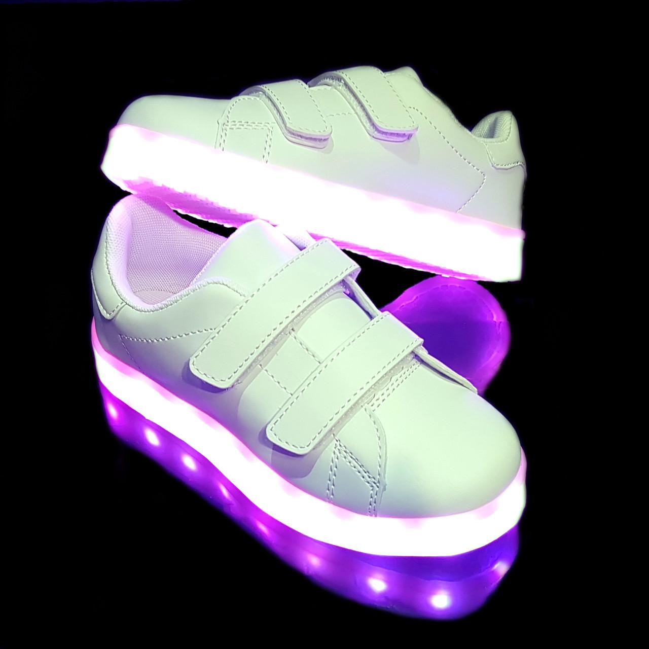 Кроссовки светящиеся липучка White H2 (12 штук в ящике) ОПТОМ