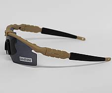 Очки тактические, темные Oakley, 3 линзы в комплекте (oakley-3-coyote), фото 2