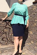 """Летний костюм """"Алифтина"""" в большом размере, размеры 48-50,52-54,56-58 бирюза с синим, фото 2"""