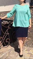 """Летний костюм """"Алифтина"""" в большом размере, размеры 48-50,52-54,56-58 бирюза с синим, фото 3"""