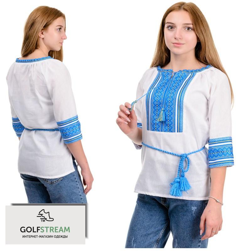 """Женская блуза """"Вышиванка"""" голубой орнамент"""