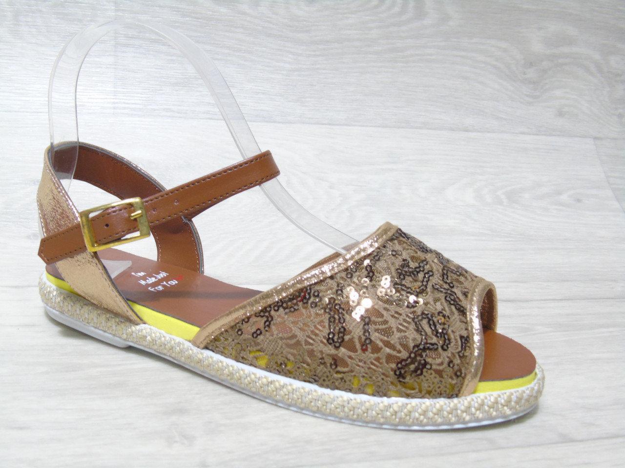 Женские сандалии (Код: 401 коричн )
