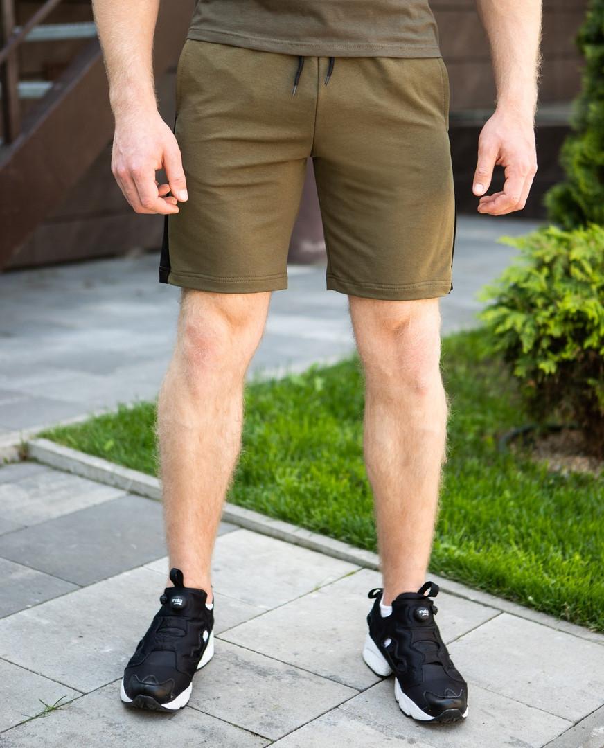 Мужские шорты Pobedov из качественного трикотажа зеленые с черной полоской, ОРИГИНАЛ