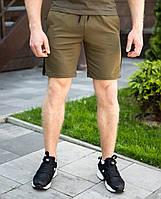 Мужские шорты Pobedov из качественного трикотажа зеленые с черной полоской, ОРИГИНАЛ, фото 1