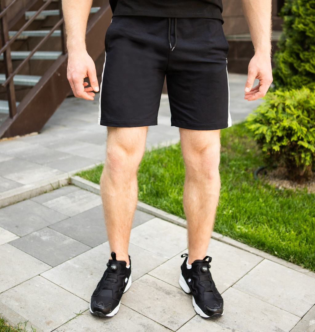 Качественные мужские шорты Pobedov короткие трикотажные в черном цвете