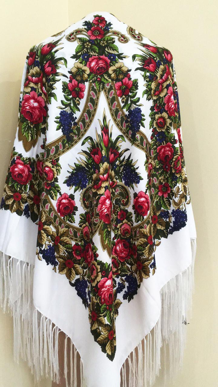 09fea81c9d87 Хустина з квітами та орнаментом Біла 140*140 см - Bigl.ua
