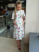 Легкое летнее струящееся платье с цветочным принтом для беременных Белое Mommy S (2063)