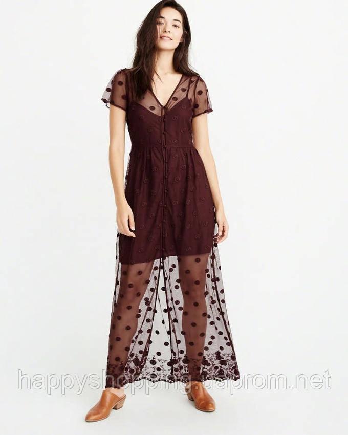 Женское бордовое макси платье Abercrombie & Fitch