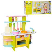 Детская кухня деревянная, плита, духовка, посуда, дерево,MSN15028