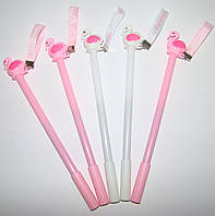 Ручка детская шариковая Фламинго с лентой, пишет синим