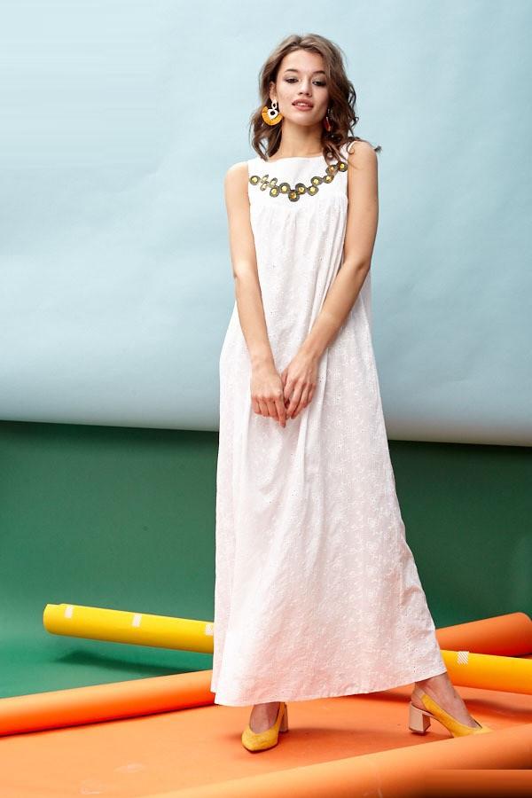 Длинное платье из коттона в вышивкой 45873 (42–46р) в расцветках, фото 6