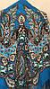 Хустина з квітами та орнаментом Бірюзово-блакитна 140*140 см