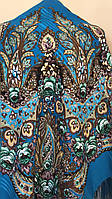 Хустина з квітами та орнаментом Бірюзово-блакитна 140*140 см, фото 1