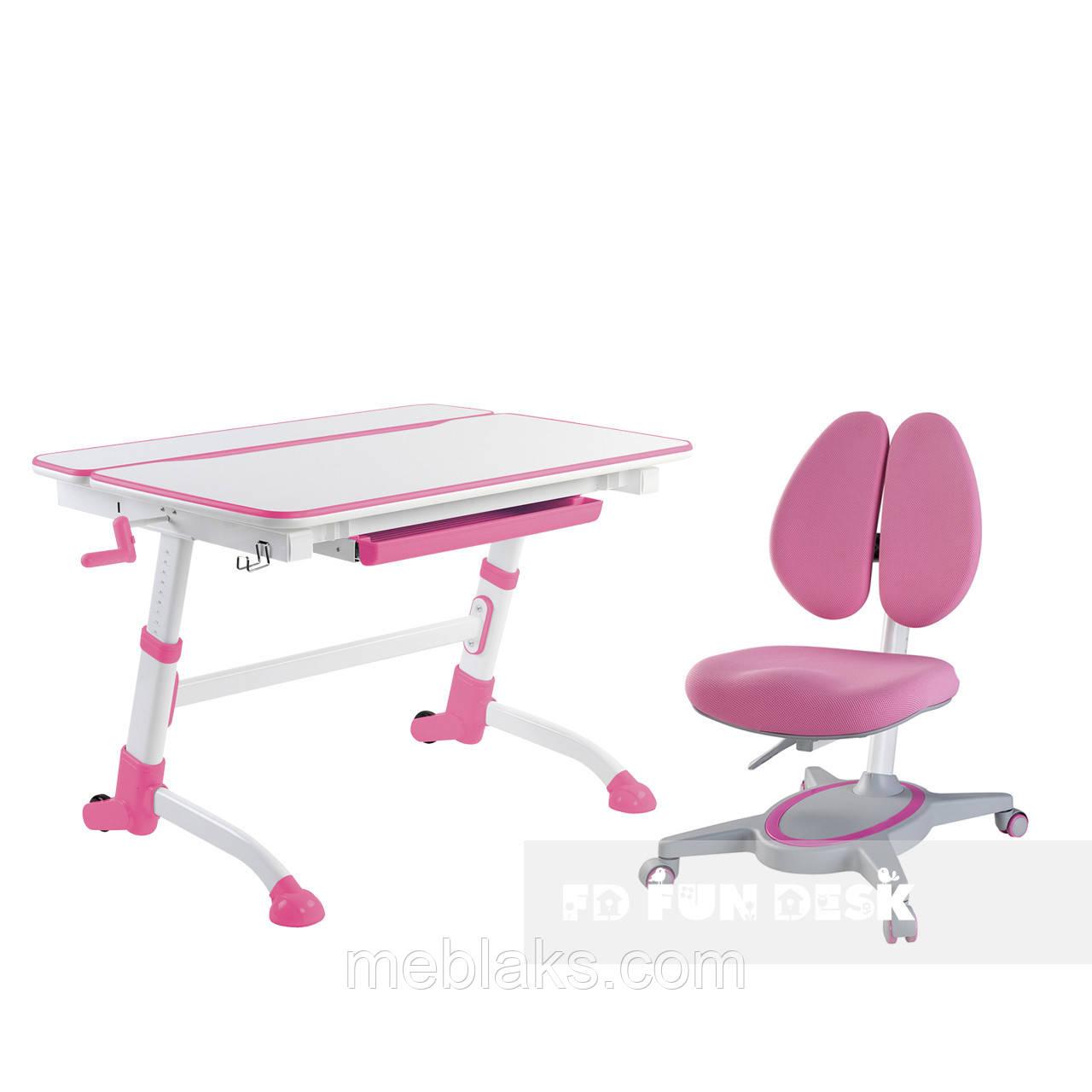 Регулируемая парта FunDesk Volare Pink + Детское ортопедическое кресло Primavera II Pink