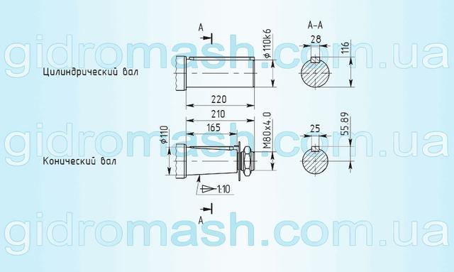 Розміри валів мотор-редуктор 3МП-125