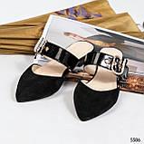 Женские замшевые мюли с лаковым ремешком (разные цвета), фото 5